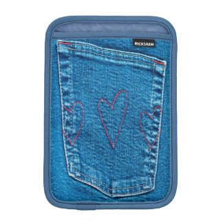 Blue Jeans Pocket with Embroidered Hearts Sleeve For iPad Mini