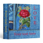 Blue Jeans Red Rose Personalized Binder