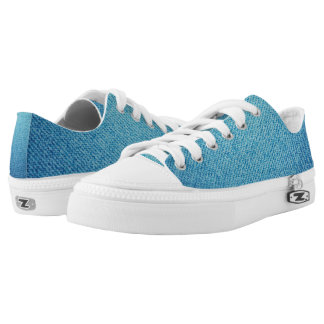 Blue jeans texture Low-Top sneakers