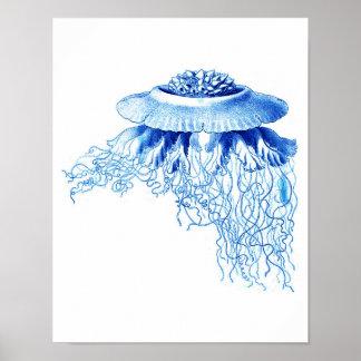 Blue Jellyfish Art Print No.5 Nautical Wall Decor