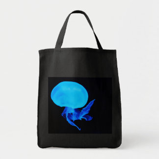 Blue jellyfish deep sea creature photograph travel tote bag