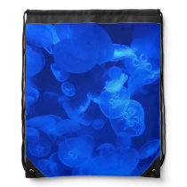 Blue Jellyfish Drawstring Backpack