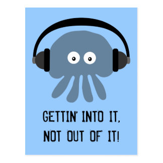 Blue jellyfish GETTIN INTO IT postcard