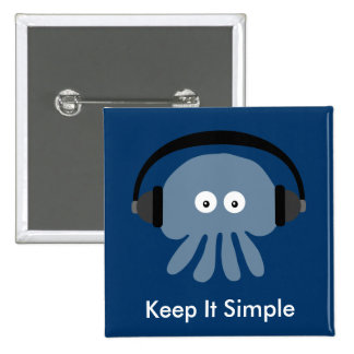 Blue Jellyfish & headphones Keep It Simple badge Pinback Button