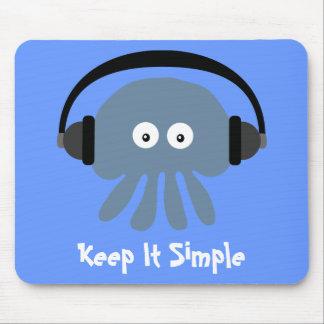 Blue Jellyfish & Headphones Keep It Simple Mouse Pad