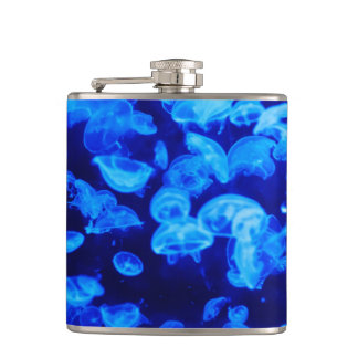 Blue Jellyfish Hip Flask