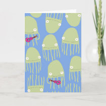 Blue Jellyfish Playing the Ukulele Greeting Cards