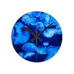 Blue jellyfish round wallclock