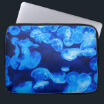 "Blue Jellyfish underwater Computer Sleeve<br><div class=""desc"">Great example of underwater photography. Blue jellyfish underwater. Amazing gifts for jellyfish lovers and nice gifts for fans of underwater photography.</div>"