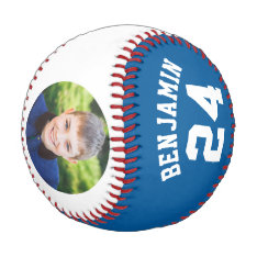 Blue Jersey Number And Photo Baseball at Zazzle