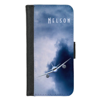Blue Jet Plane Airplane Flying in the Sky Pilot iPhone 8/7 Wallet Case