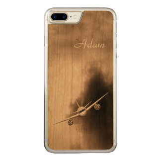 Blue Jet Plane Flying High in the Sky Pilot Wooden Carved iPhone 8 Plus/7 Plus Case