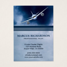 Blue Jet Plane Flying In The Sky Charter Pilot Business Card at Zazzle
