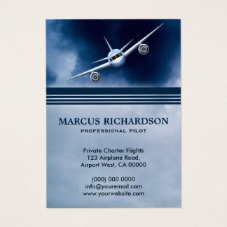 Blue Jet Plane Flying in the Sky Charter Pilot Business Card