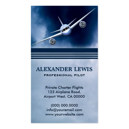 Jet Plane Flying High in the Sky Blue Charter Flight Services Professional Pilot Business Cards
