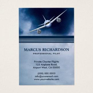 Blue Jet Plane in Sky Charter Pilot Business Cards