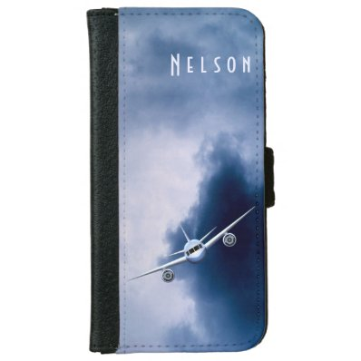 Blue Jet Plane in Sky Pilot iPhone6 Wallet Cases