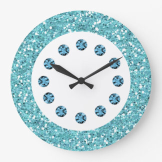 Blue Jewel Bling Wall Clock