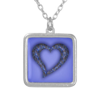 Blue Jewel Heart Silver Necklace