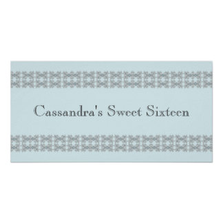 Blue Jewel Lace Birthday Party Banner Print