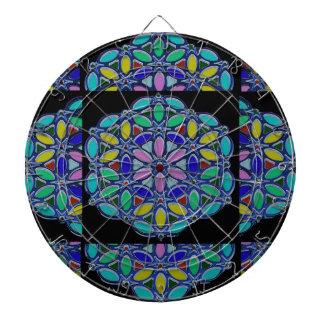 Blue Jewel Necklace Pendent Mandala style design Dartboard