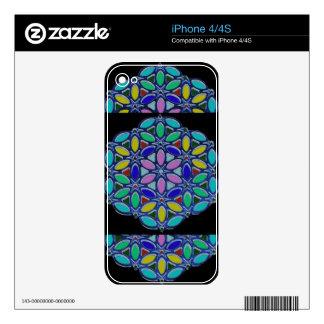 Blue Jewel Necklace Pendent Mandala style design iPhone 4 Skin