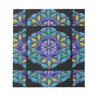 Blue Jewel Necklace Pendent Mandala style design Notepad