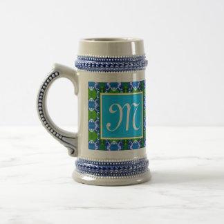 Blue Jewel Pattern Beer Stein