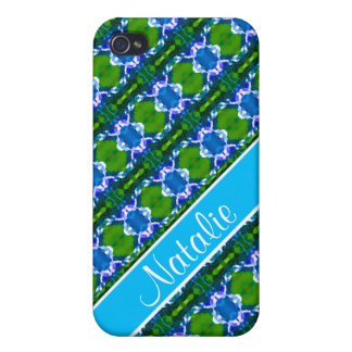 Blue Jewel Pattern Cover For iPhone 4
