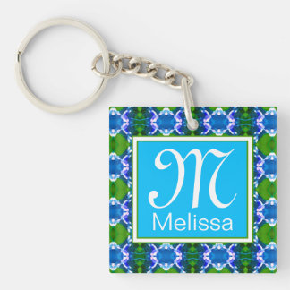 Blue Jewel Pattern Single-Sided Square Acrylic Keychain