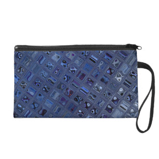 Blue Jewel Wristlet Purse