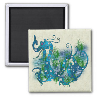 Blue Jeweled Dragon 2 Inch Square Magnet