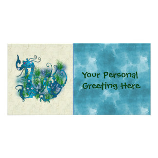 Blue Jeweled Dragon Personalized Photo Card