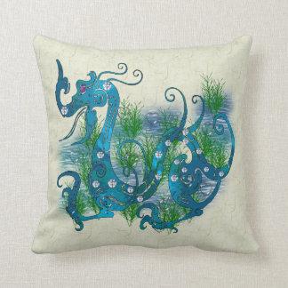 Blue Jeweled Dragon Throw Pillow