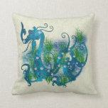 Blue Jeweled Dragon Throw Pillows