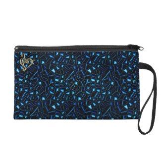 Blue Jeweled Glitter Formal Evening Wrist Bag