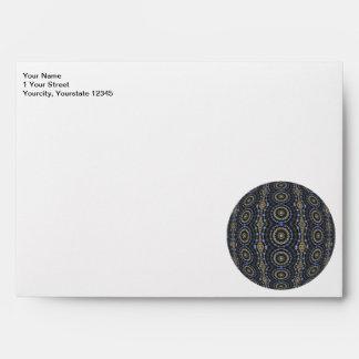 Blue Jeweled Rings Kaleidoscope Mandala Envelope