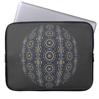 Blue Jeweled Rings Kaleidoscope Mandala Laptop Sleeves