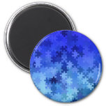 Blue jigsaw puzzle pattern 2 inch round magnet