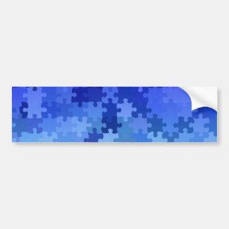 Blue jigsaw puzzle pattern bumper stickers