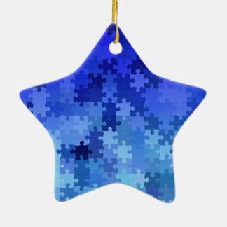 Blue jigsaw puzzle pattern christmas tree ornaments
