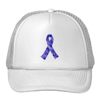 Blue Jigsaw Puzzle Pattern Ribbon Trucker Hat