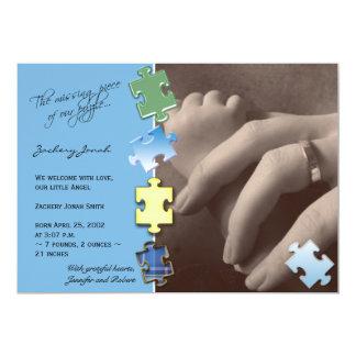 "Blue Jigsaw Puzzle Photo Baby Announcement 5"" X 7"" Invitation Card"