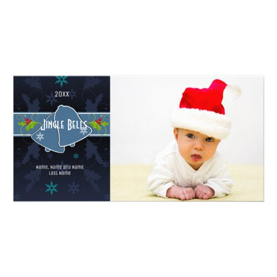 Blue Jingle Bells Photo Card