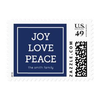 Blue Joy Love Peace Modern Minimalist Holiday Postage Stamp