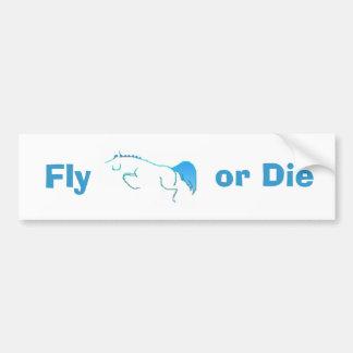blue_jump_horse, Fly, or Die Bumper Sticker