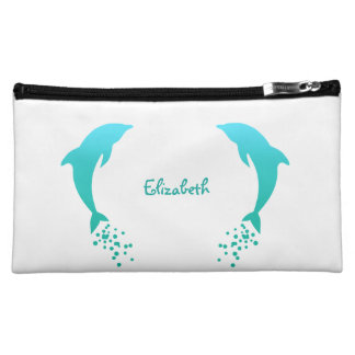 Blue Jumping Dolphin With Bubbles Cosmetic Bag
