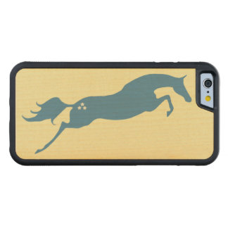 Blue Jumping Horse Carved Maple iPhone 6 Bumper Case