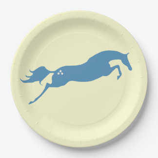 Blue Jumping Horse Paper Plate
