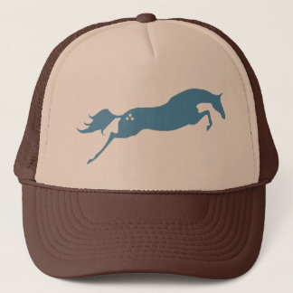 Blue Jumping Horse Trucker Hat